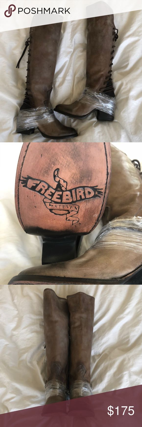 Freebird Coal boots, NWOT Freebird by Steven Tall Shaft boots with adjustable corset back. Grey. Size 7. Brand new, never worn. Full leather with suede back. Freebird by Steven Shoes Heeled Boots