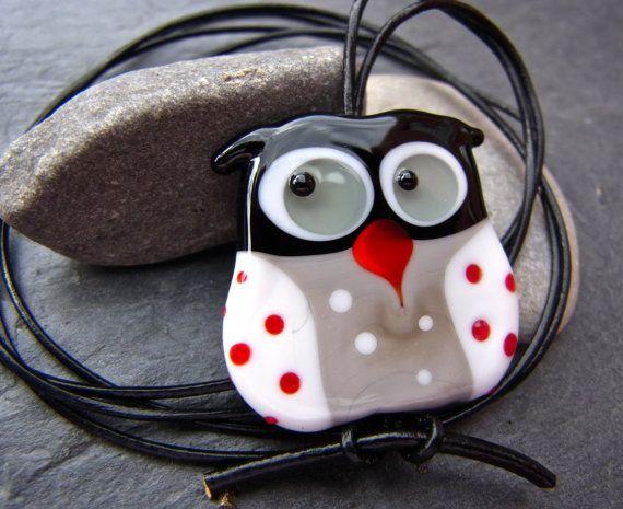 funky owl pendant free shipping handmade lampwork bead by anne schelling sra