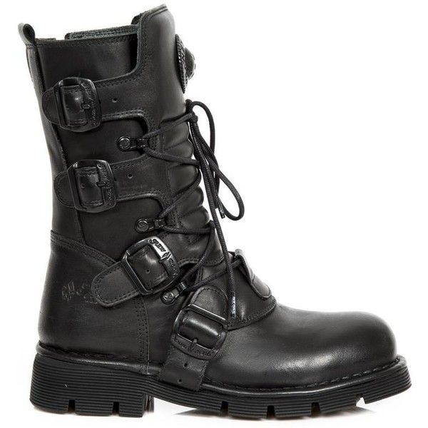 New Rock Black Leather Unisex Boots M.1473-S49 (£170) ❤ liked on Polyvore featuring shoes, boots, rock boots, black leather boots, leather buckle boots, black buckle boots and laced up boots