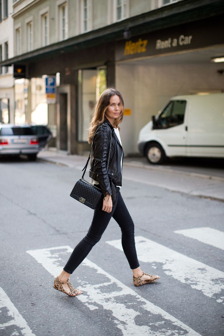 Slim pants, Chanel bag, leather jacket & leopard print shoes.
