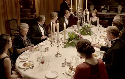 DiningatDownton--This blog post has a good sample menu for dinner (do-able). I like the suggestion of roasted vegetables for a side dish (maybe brussel sprouts again? They are pretty, green, and tasty.)