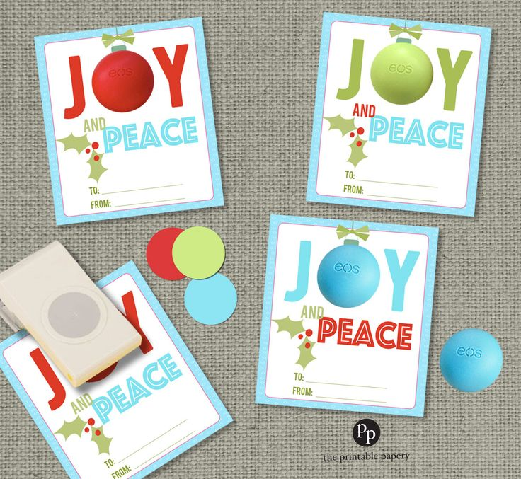 Holiday Christmas Gift Tags For Eos Lip Balm Gifts