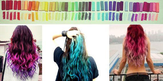 Rainbow Hair Chalk, Hair Tint, Hair Stain, Ombre Hair, Festival Paint, DIY Temporary hair color, Reverse Ombre