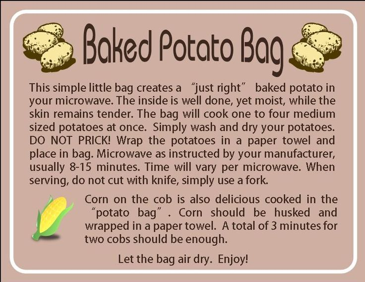 Instruction Card For Potato Bag Made Someone Their Up Coming Craft Fair Bags Pinterest Fairs And