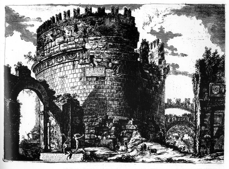 An etching by Giovanni Batiste Piranesi. His work focuses on the slow reclamation of ancient Roman ruins by nature.
