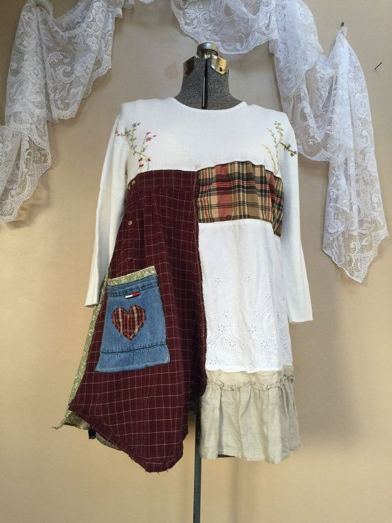 Upcycled Patchwork Dress Shabby Chic Dress by SimplyCathrineAnn