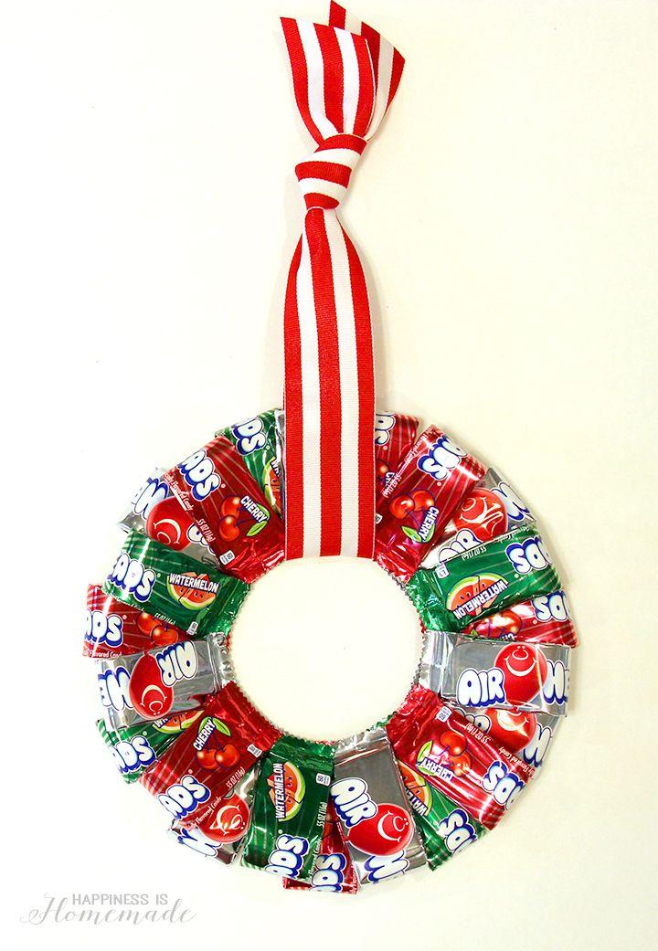Edible Christmas Craft Ideas Part - 42: Airheads Christmas Candy Wreath