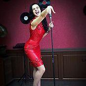 Одежда ручной работы. Ярмарка Мастеров - ручная работа Платье красное из кожи Blooming Passion. Handmade.