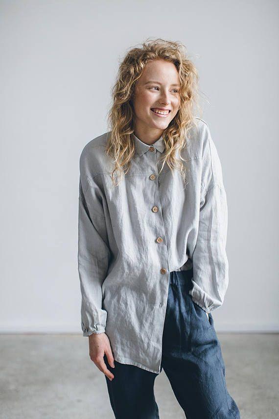 b5cb47c3 Linen shirt/ Drop shoulder shirt/ Oversized linen shirt/ | | looks ...