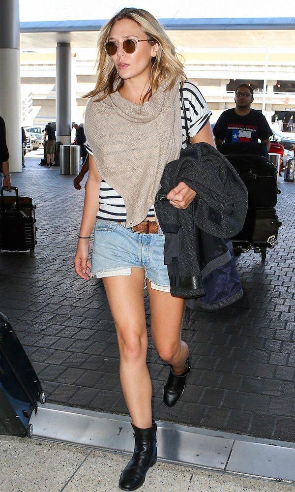 Airport Style: Elizabeth Olsen Is Laid-Back Cool In Denim Cut-Offs