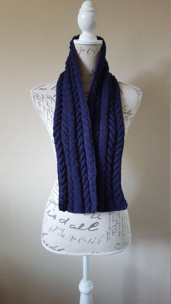 Dark Blue Unisex Hand-Knitted Scarf