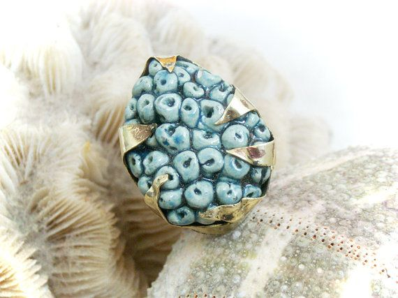 Navy Blue ring sculpture sea treasures One of a Kind by azulado, $59.00