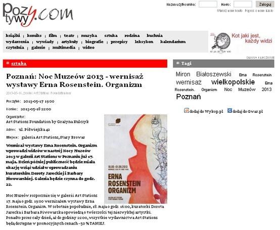 """pozytywy.com """"Poznań: Noc Muzeów 2013 - wernisaż wystawy Erna Rosenstein. Organizm"""" http://www.pozytywy.com/wydarzenia/2013-05-17/144618-poznan-noc-muzeow-2013-wernisaz-wystawy-erna-rosenstein-organizm"""