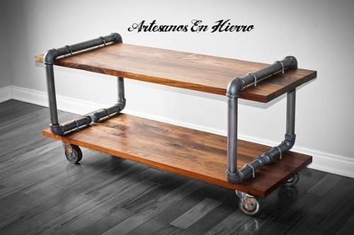 mesa pipe para tv con madera new industrial vintage