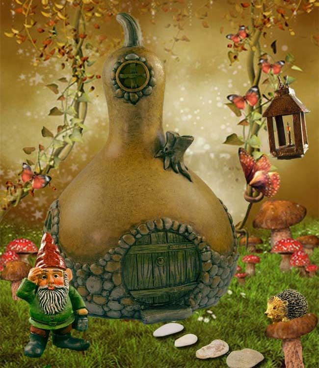 Gourd Fairy House - Could do with a gourd and polymer clay?