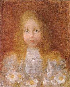 Portrait de fille avec fleurs de Piet Mondrian, cubisme