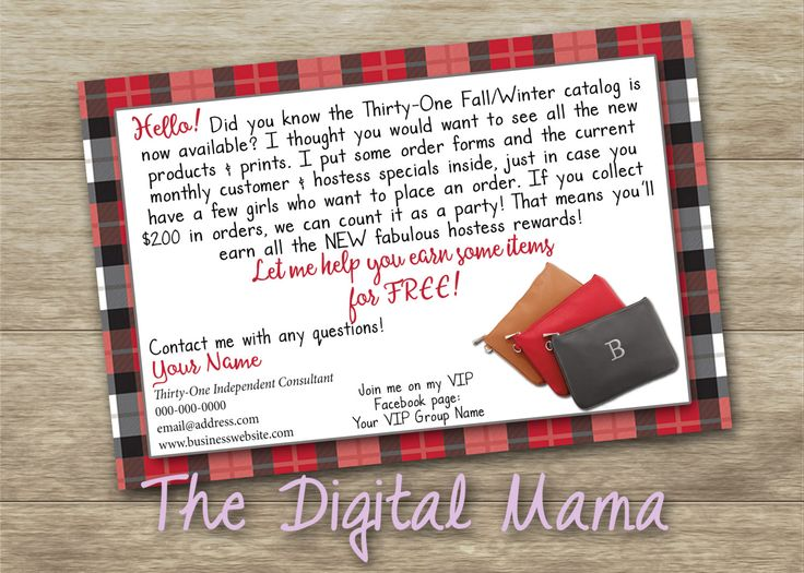 Thirty-One Fall/Winter 2016 Customized Catalog Note - Thirty-One Fall/Winter Catalog - Thirty-One Consultant Post Card  - Digital Download by…