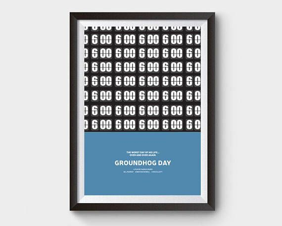 Groundhog Day movie poster A3 movie film poster minimal