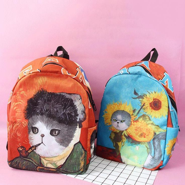 van gogh art backpack bag painting