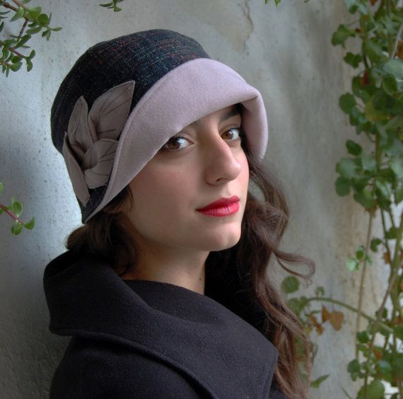 Cloche hat tweed fabric in several shades of gray by WhereIsTheCat