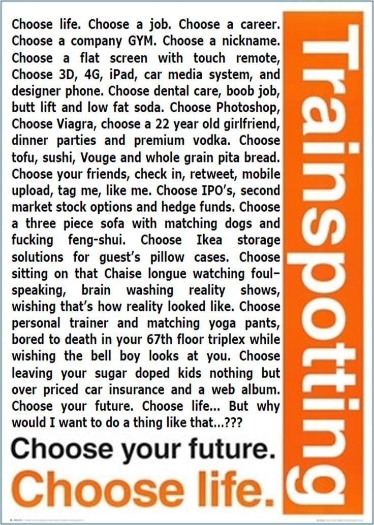 Image result for trainspotting choose life