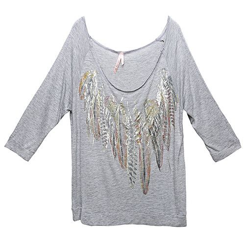 Shirts New Print Floral T shirt Women tops casual women clothing Grey Tee Appliques and Three Quarter Sleeve Crop T shirt