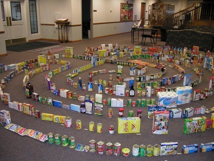 Labyrinth with donated items for food pantry