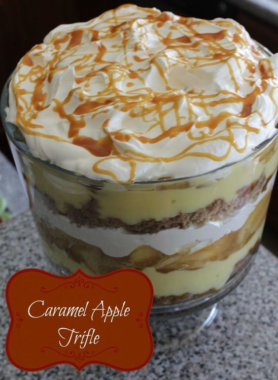 Caramel Apple Trifle Ingredients: ■1 Box of Cake Mix (spice, yellow, pound cake, store bought, etc.) ■1 Container of Cool Whip or 2 Small Containers ■1 Large box of Vanilla Instant Pudding ■1 Jar Caramel Topping Sauce ■2 Cans of Apple Pie Filling