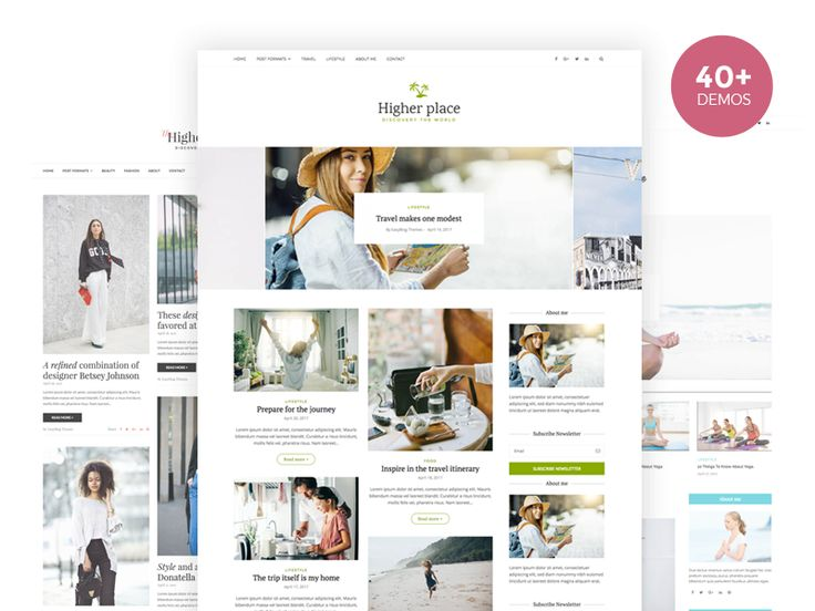 Just some screenshots of the lifestyle, personal blog templates from a few of the 40+ demos from Higher Place Blog WordPress Theme.  Build everything easy with EasyBlogThemes!   Check the 40+ demos in this link: https://easyblogthemes.com/list-demo/