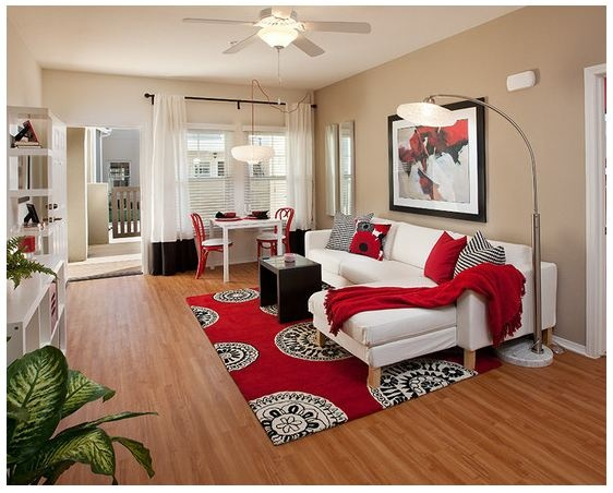 living room red and cream