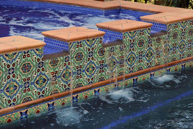 Spanish colonial tile in pool cool pool tile custom tile for Pool tile examples