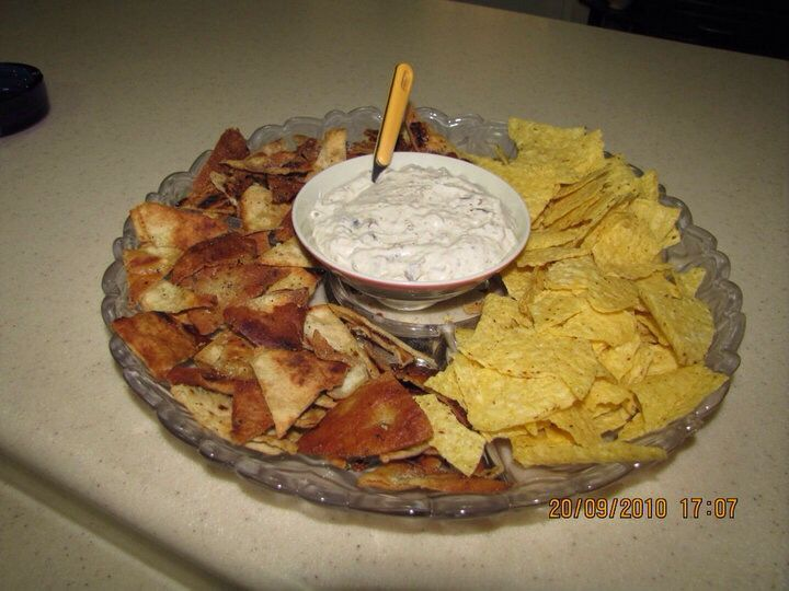 Home made chips and mushroom dip