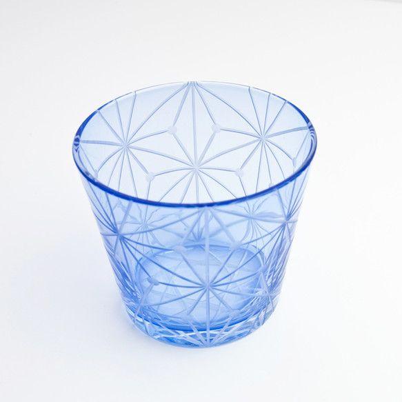 江戸切子(花切子)グラス 千代紙 青