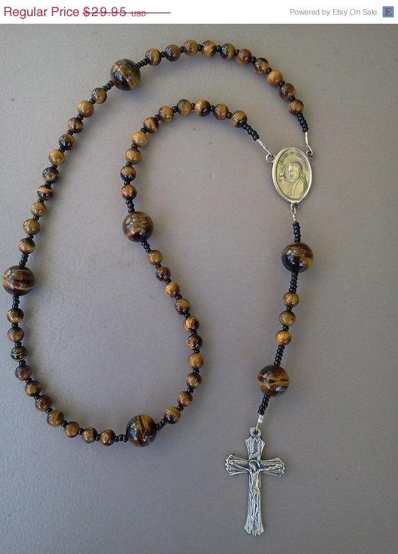 ON SALE Handmade Rosary Tiger eye Catholic by norcalartglass, $26.96