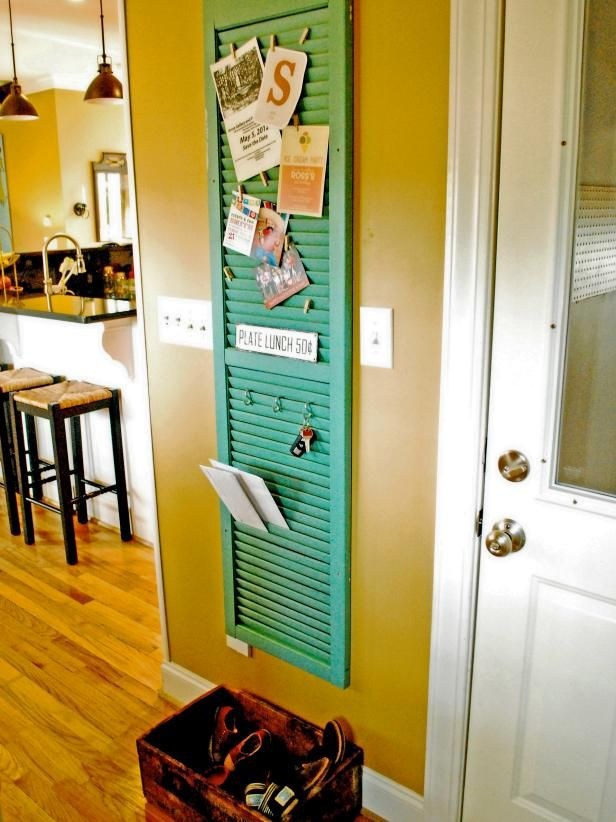 HGTV: A repurposed shutter makes a great mail and key holder in an entryway.