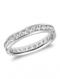 18ct white-gold channel-set round brilliant diamond full eternity ring 1.00tcw