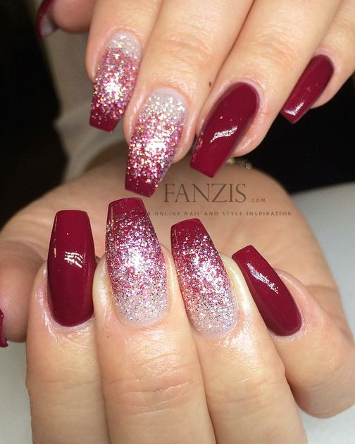 red white glitter ombre nails