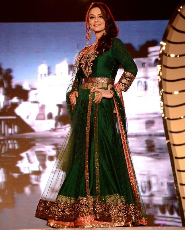 Priety Zinta Emerald Green Raw Silk Lengha