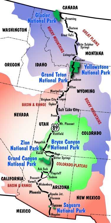 Would be a great road trip!  Drive from the Alberta, Canada / Montana border to the Arizona / Mexico border with plenty of amazing stops along the way, like Yellowstone National Party, the Rocky Mountains, and the Grand Canyon.