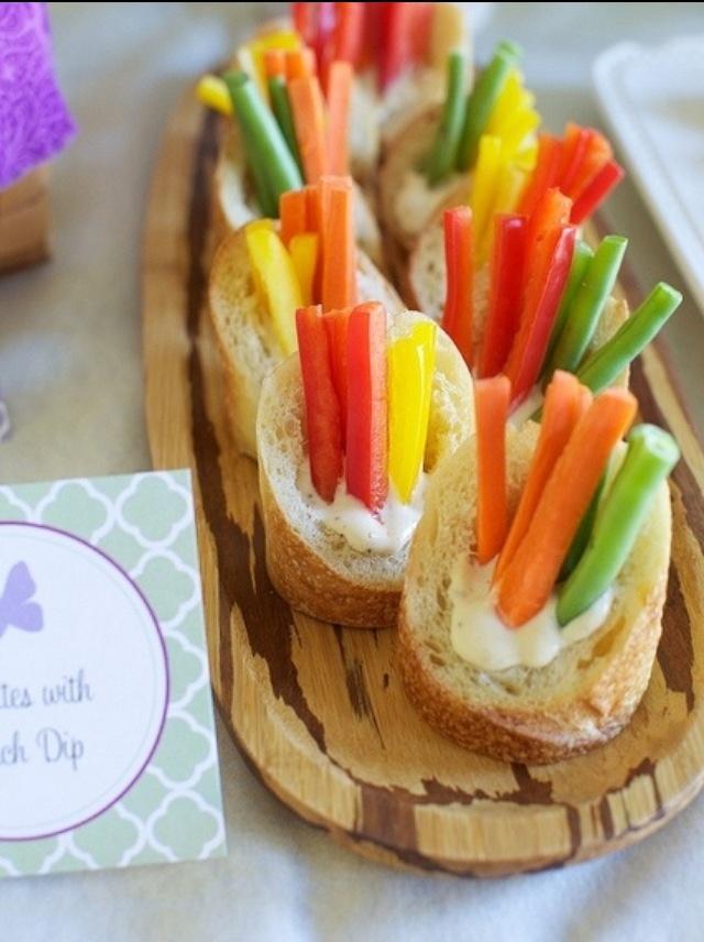 Veggies & Dip served in individual Baguettes