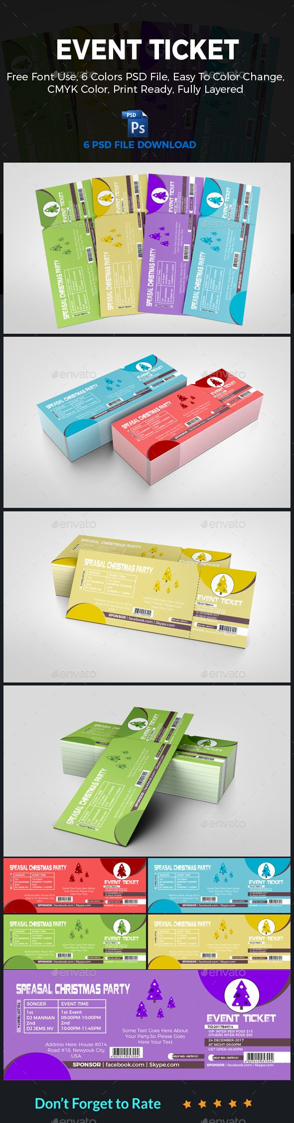 Christmas #Event #Ticket - Clubs & Parties Events Download here: https://graphicriver.net/item/christmas-event-ticket/19589361?ref=alena994