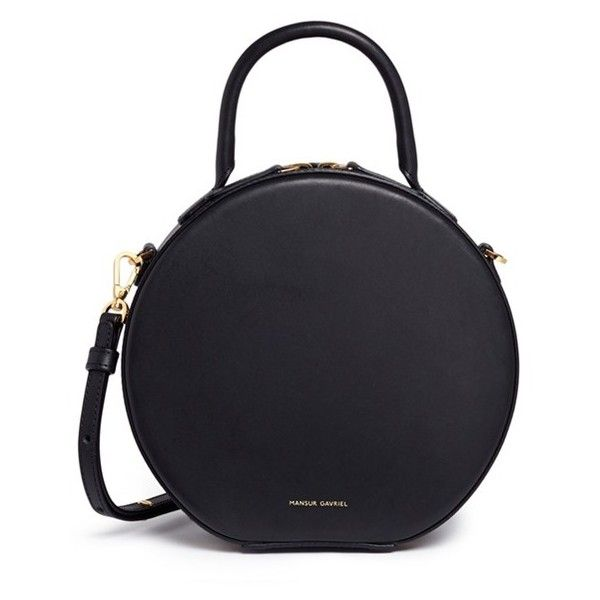Mansur Gavriel 'Circle' leather crossbody bag (€585) ❤ liked on Polyvore featuring bags, handbags, shoulder bags, bags., black, crossbody shoulder bag, leather tote purse, crossbody purse, shoulder tote bags and crossbody tote