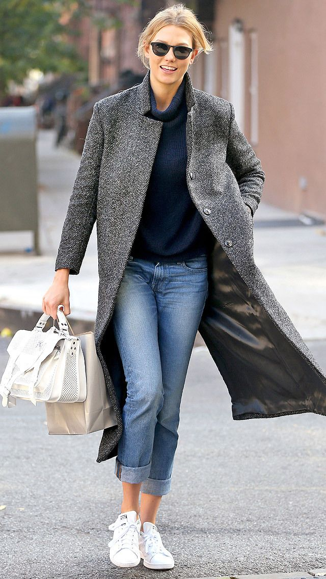 91 Celeb Outfits That Are All About The Coat Boyfriend Jeans