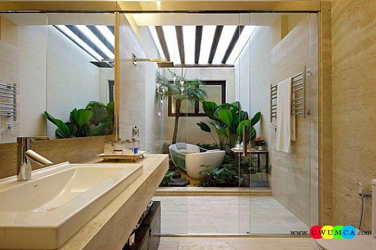Bathroom:Decorating Modern Summer Bathroom Decor Style Tropical Bath Tubs Ideas Contemporary Bathrooms Interior Minimalist Design Decoration Plans Tropical Modern Bathroom Cool and Cozy Summer Bathroom Style : Modern Seasonal Decor Ideas