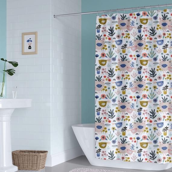 Floral Birds Kids Shower Curtain Girl Bathroom Curtain Toddler