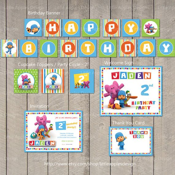 Pocoyo Birthday / Pocoyo Mini Party Package / Pocoyo Birthday Banner / Pocoyo Cupcake Toppers / Pocoyo Welcome Sign / Pocoyo Party Circle / Pocoyo Invitation / Pocoyo Thank you Card / Pocoyo party printable by LittleApplesDesign