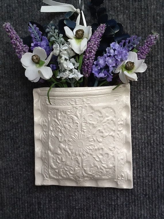Clay wall pocket with inlaid lace. by PrettyPotterybyTC on Etsy, $26.00