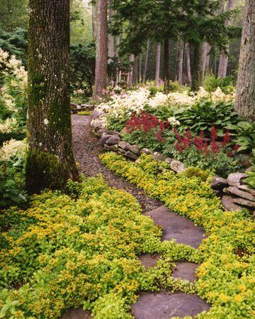 backyard ideas: Secret Gardens, Natural Sparklers, Gardens Paths, Backyard Pathways, Martha Stewart, Landscape Ideas, Shades Gardens, Gardens Tours, Bright Colors