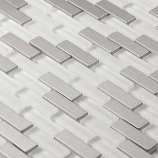 Martini Mosaic Aria Steel Ice Stainless Steel and Frosted Ice 12x12-inch Tile Sheets (Set of 7)   Overstock.com Shopping - Big Discounts on Martini Mosaic Backsplash Tiles