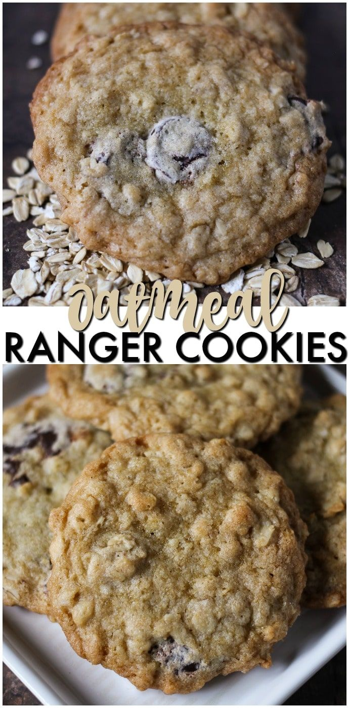 Ranger Cookies are a soft and chewy cookie filled with oatmeal, chocolate chips, and crispy rice cereal. Definitely a new favorite for the cookie jar! | www.persnicketyplates.com #ad #quaker @Quaker